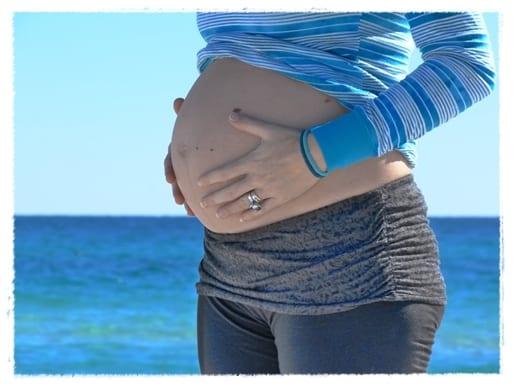 la playa durante el embarazo