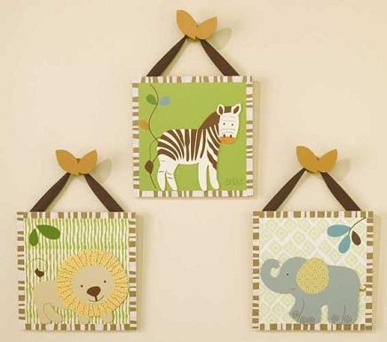 Animales de la selva en la habitacin del beb