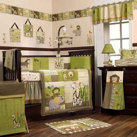 Animales de la selva en la habitaci n del beb - Cabezas de animales decoracion ...