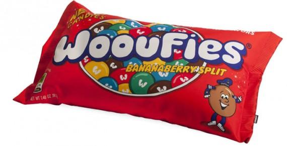 Puf con forma de bolsa de caramelos