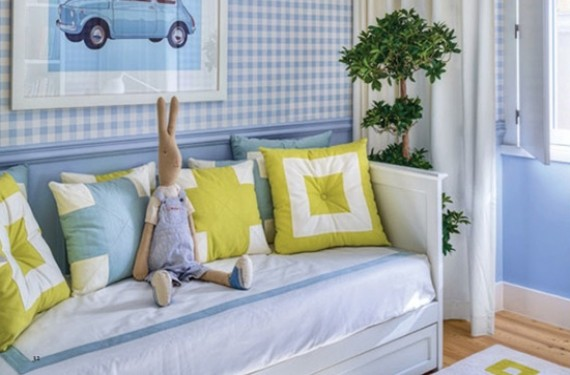 Decoración habitación azul