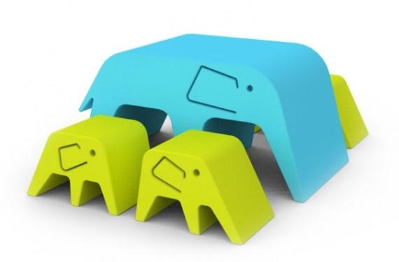 Mueble familia elefante Foam-tek