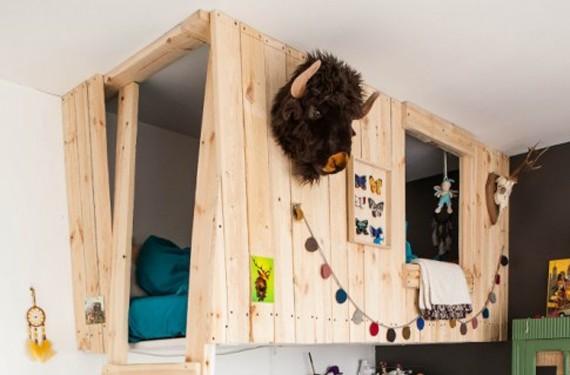 Cabaña de madera convertida en cama