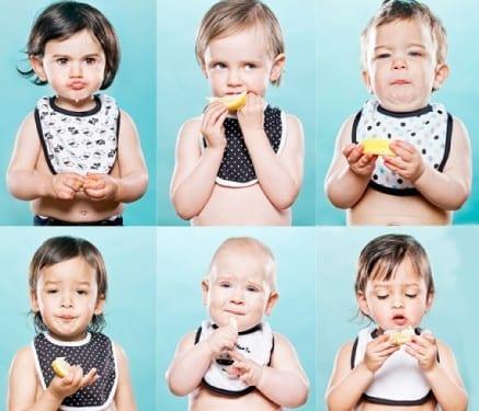 Bebés comiéndose un limón