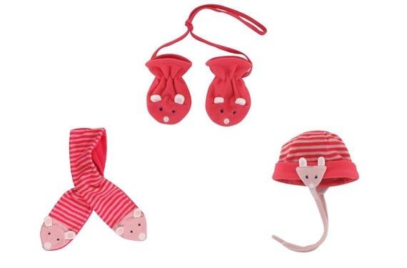 Conjunto manoplas, bufanda y gorro ratón