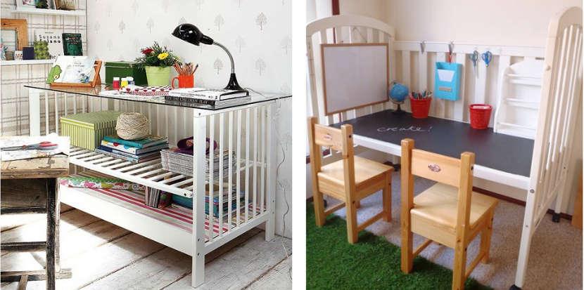 Ideas para reciclar la cuna del beb con una cuna de for Como reciclar muebles de madera