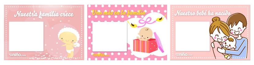 Tarjetas imprimibles para el nacimiento del bebé