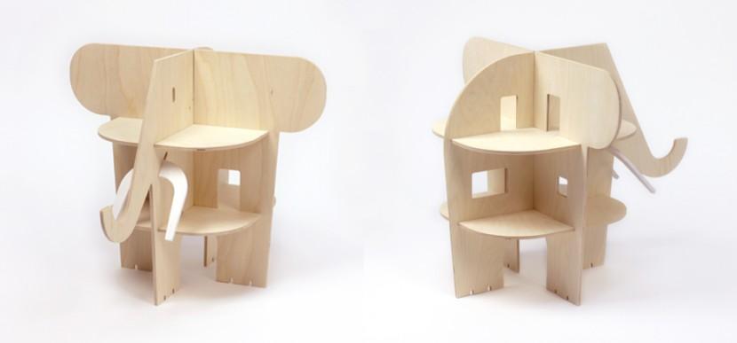 Casa de madera en forma de elefante