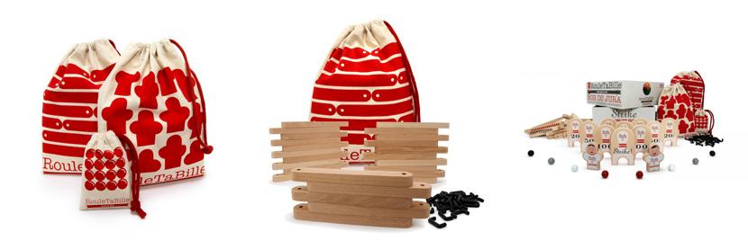 Juego de bolos de madera