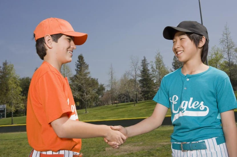 Opponents shaking hands