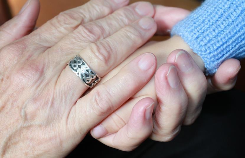 abuelos y nietos dandose la mano