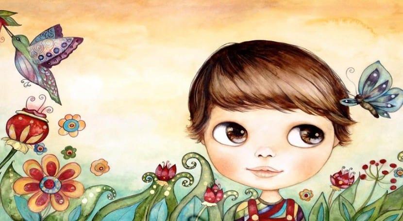 Ilustración infantil de niño con mariposa para educar en Inteligencia Emocional