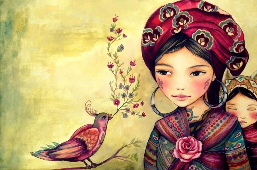 ilustraci+¦n madre con hija representando la educaci+¦n paulo freire