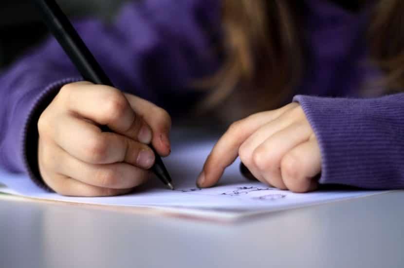 niño realizando un cuaderno vindel