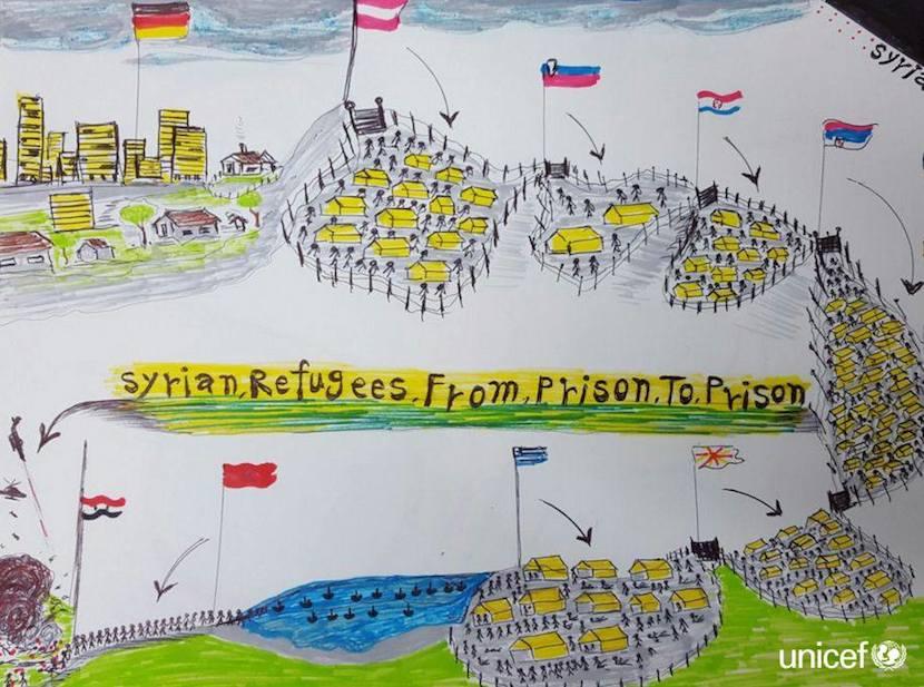 Dibujo realizado por un niño sirio.