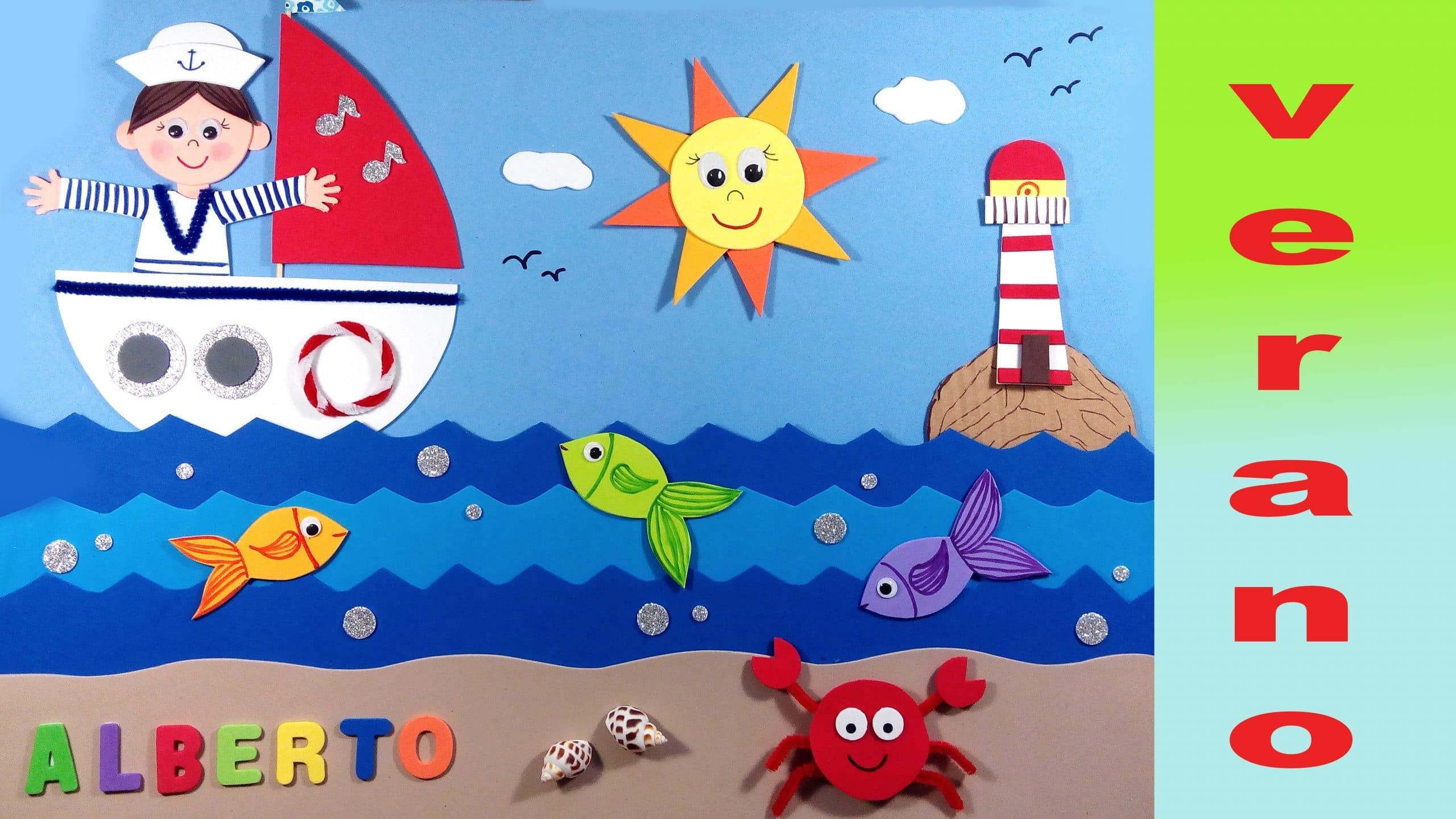 Cuadro marinero infantil de goma eva para verano