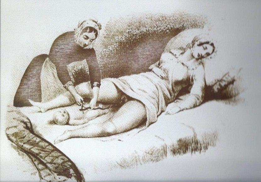representación de asistencia a un parto