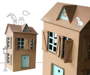 Casa de muñecas de cartón reciclado