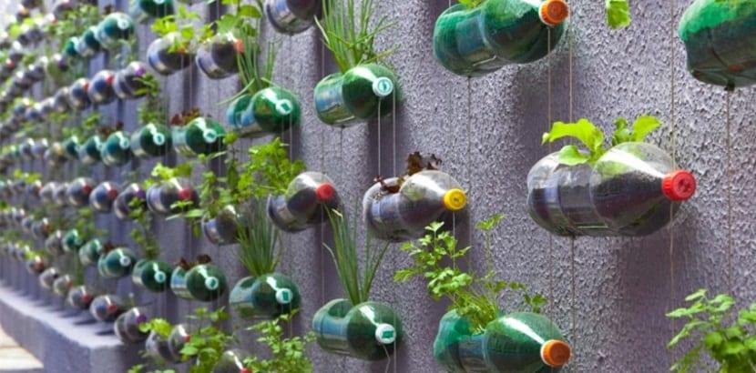 Huerto vertical reciclado