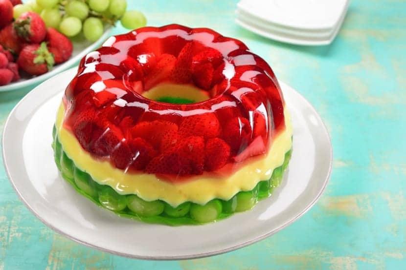 Pastel de gelatina tricolor