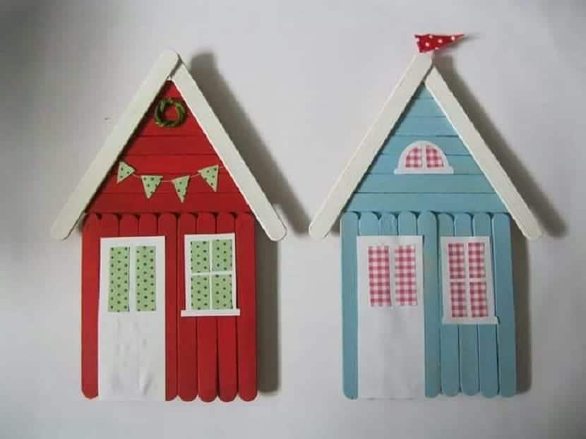 Casas decorativas con palitos de helado