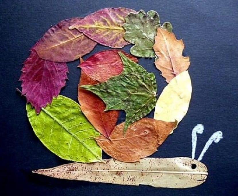 Caracol hecho de hojas de árboles