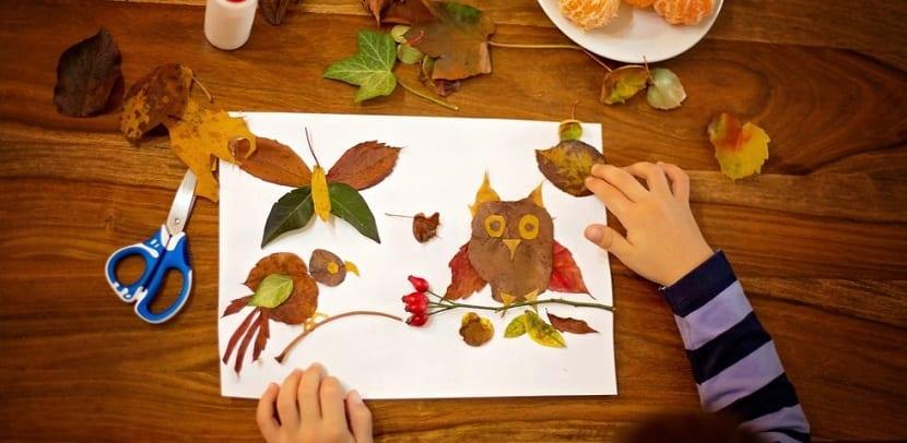 Composición de hojas secas