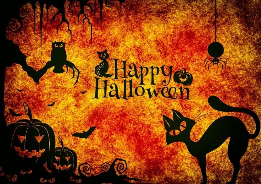 Cartel de Feliz Halloween decorado con temática tenebrosa.