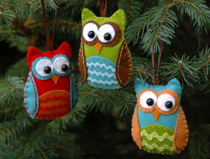 Búhos de fieltro para el árbol de Navidad