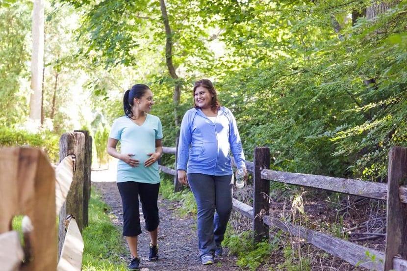 Mujeres embarazadas haciendo ejercicio juntas