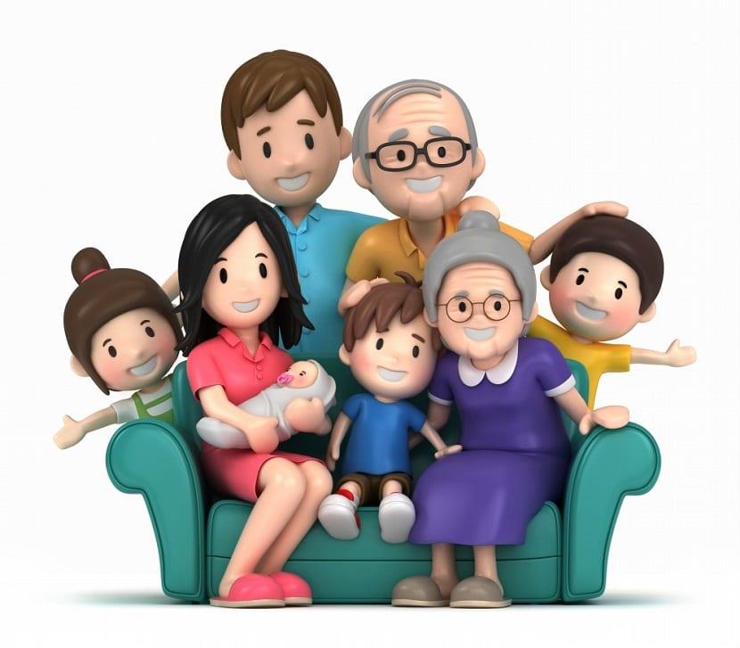 Caricatura de una familia