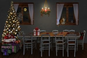 Mesa de nochebuena, con un hueco vacío de un ser querido.
