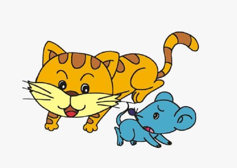 Dibujo de un gato y un ratón