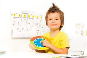 Niño aprendiendo a leer la hora