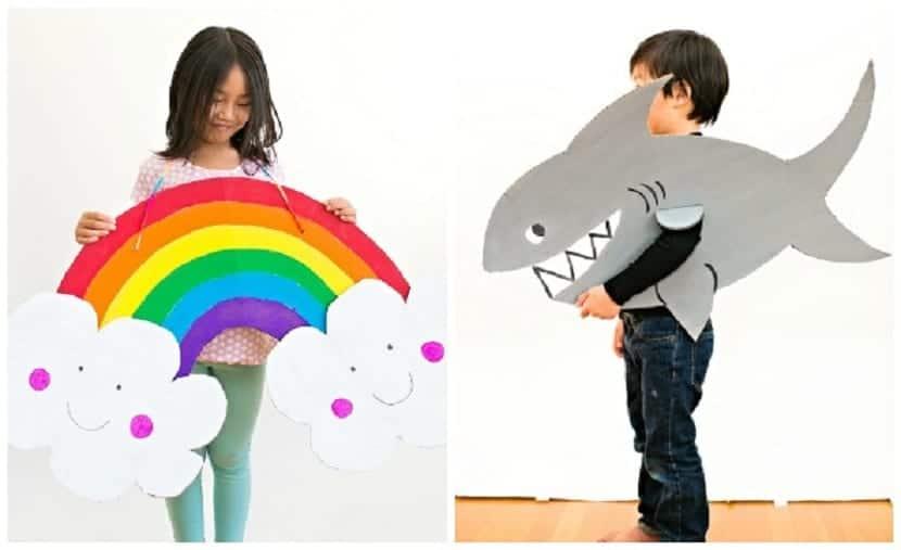 Disfraz de arcoiris y tiburón