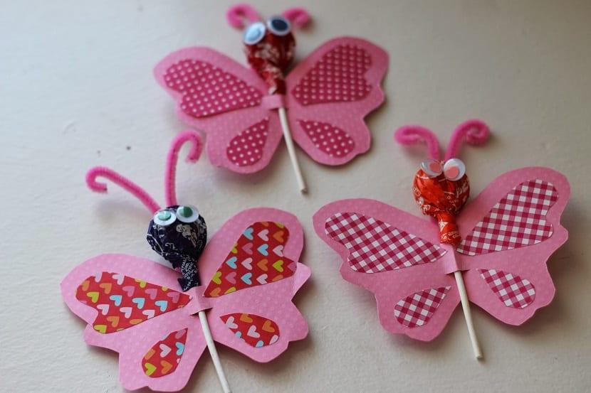 Mariposa con chupa chups de San Valentín