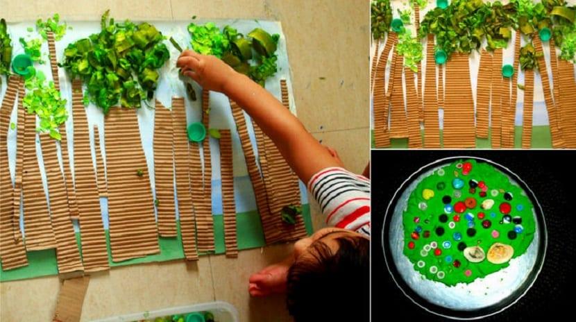 Bosque de materiales reciclados