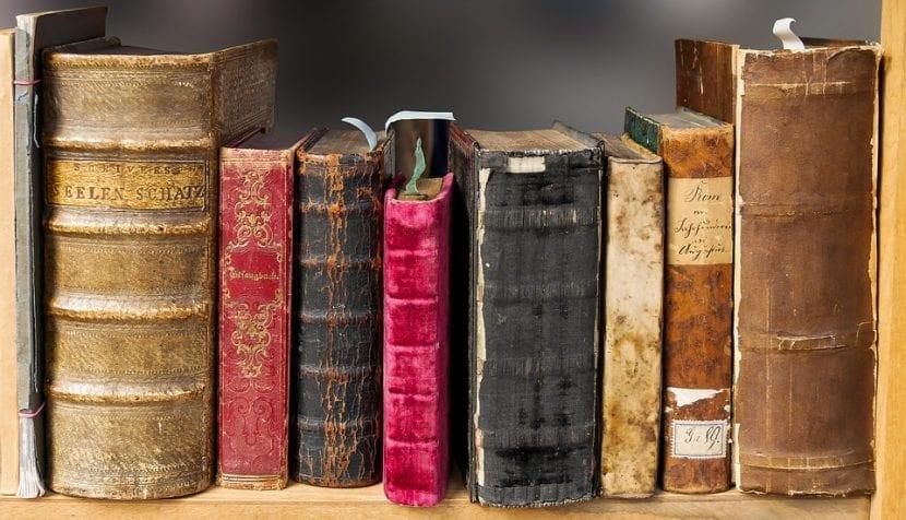 Conjunto de libros colocados en una estantería.