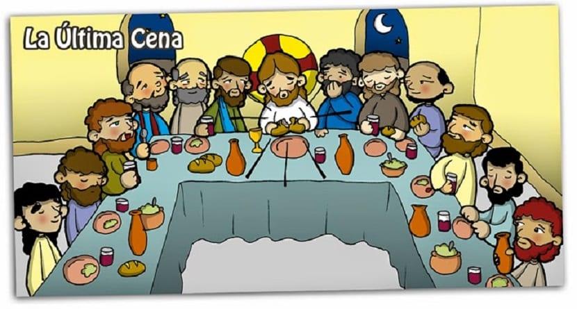 La última cena, imagen para niños