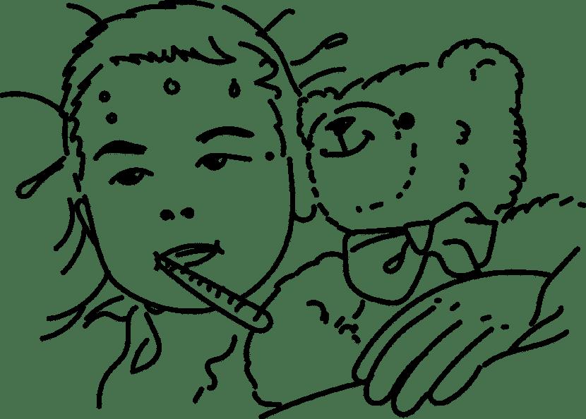 Dibujo de un niño en la cama, enfermo de mononucleosis.