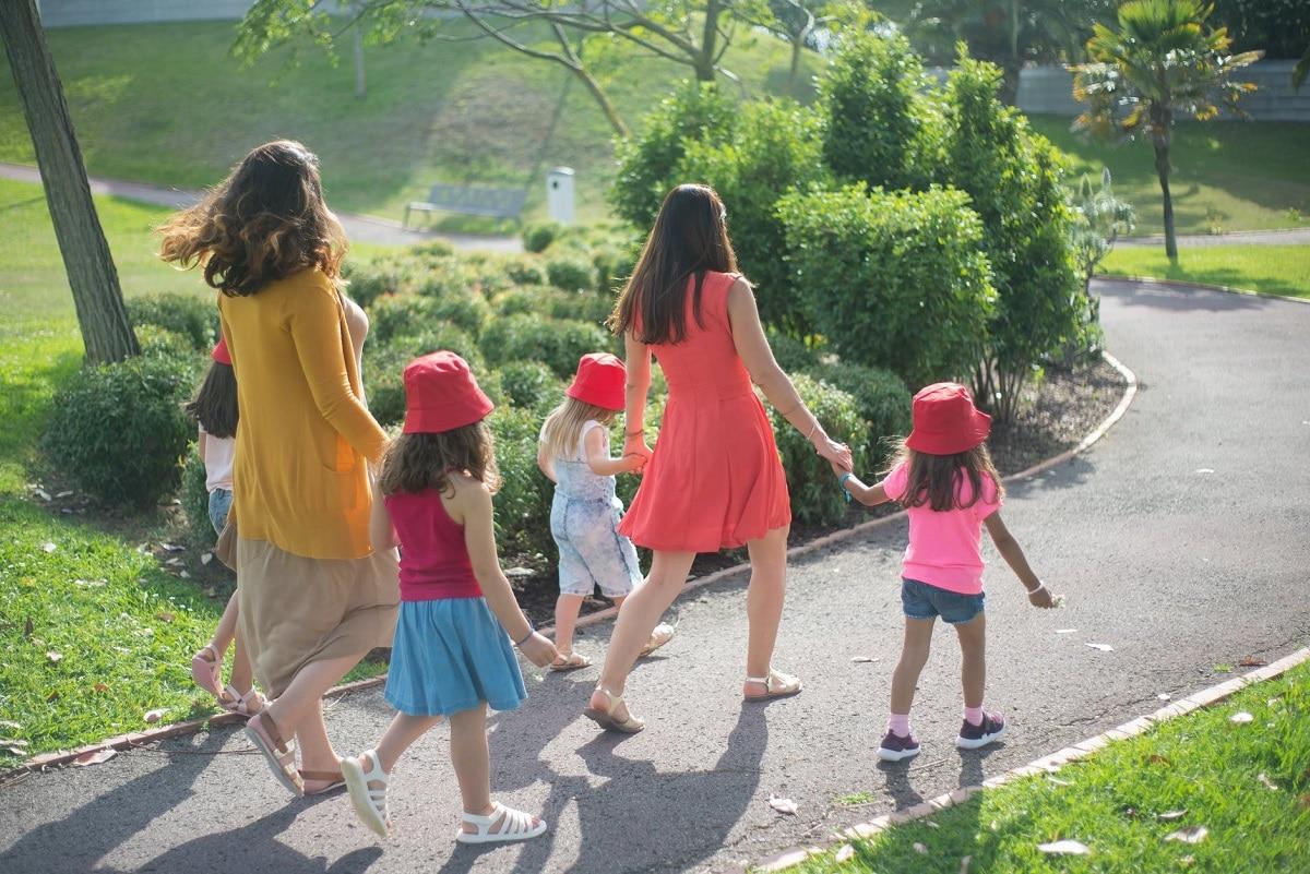 Ir al parque en familia
